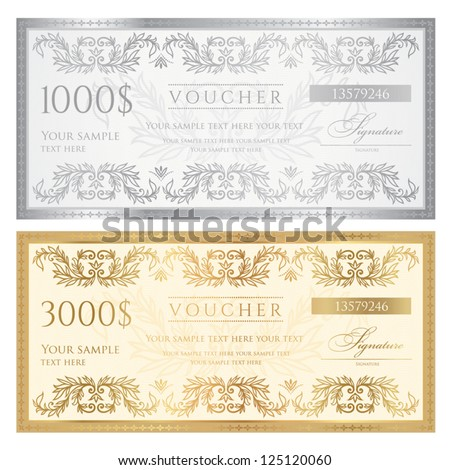 Voucher template with floral pattern, watermark and border . Design usable for gift voucher, coupon, diploma, certificate, ticket or different awards. Vector illustration in golden and silver colors