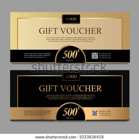 Voucher template with gold and black certificate. Background design coupon, invitation, currency. Set of stylish gift voucher, pattern, gift card, coupon,VIP and invite.