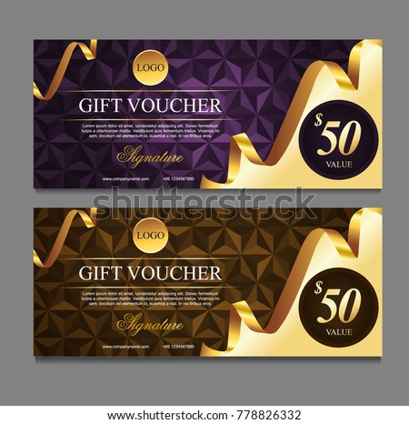 Voucher template with gold certificate. Background design coupon, invitation, currency. Set of stylish gift voucher with golden ribbon pattern. gift card, coupon. Isolated from the background.