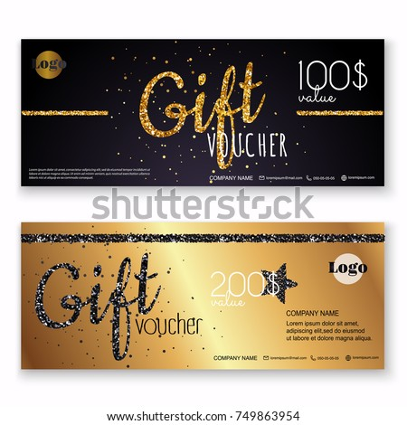 Voucher template with gold gift box, certificate. Background design coupon, invitation, currency. Vector illustration.