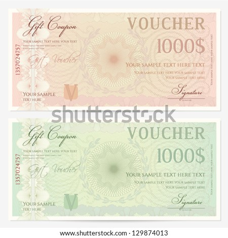 Voucher template with guilloche pattern (watermarks) and border. Background design usable for gift voucher, coupon, banknote, certificate, diploma, check, currency etc. Vector in green, beige colors