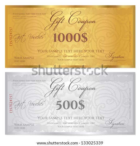 Voucher template with guilloche pattern watermarks and border Background design usable for gift coupon banknote certificate diploma currency check etc Vector in golden and silver colors