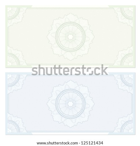 Voucher template with guilloche pattern (watermarks) and border. This design usable for gift voucher, coupon, diploma, certificate or different awards. Vector illustrations in green and blue colors