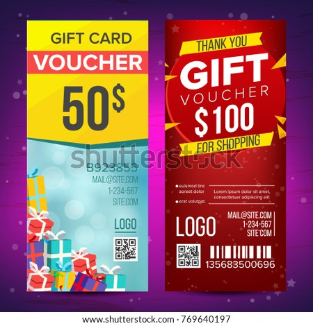 Voucher Vector. Vertical Banner. Banner, Calling Card, Poster. End Of The Year Advertisement. Cute Gift Illustration