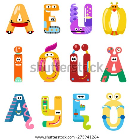 Vowels of the Latin alphabet like different robots / There are vowels of the Latin alphabet with eyes, mouths, and gears. The letters belong to English, Polish and German alphabet