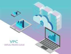 VPC virtual private cloud. Cloud services concept illustration.