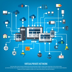 VPN concept - Virtual Private Network background with detailed world map and 24 VPN editable vector icons for video, mobile apps, Web sites and print projects.