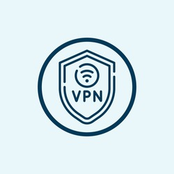 VPN icon isolated on white background from telecommuting collection. VPN icon thin line outline linear VPN symbol for logo, web, app, UI. VPN icon simple sign.