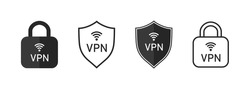Vpn icon. Shield and lock with vpn icon. Safe for wifi and server. Logo for protect of private network. Set of line symbol of connection. Sign of web protection, encryption, authentication. Vector.