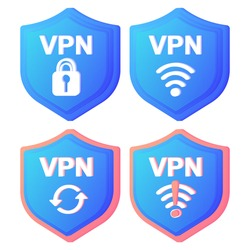 VPN Service Concept Icons. Using VPN to protect his personal data in computer. Virtual Private Network. Secure network connection and privacy protection. Data transfer concept set. Secure web traffic.