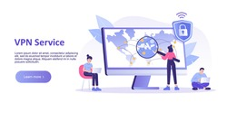 VPN service concept. VPN security software. Virtual Private Network. Secure network connection and privacy protection. Landing or page template. Isolated modern vector illustration for web banner