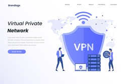 VPN service illustration landing page. Illustrations for websites, landing pages, mobile apps, posters and banners.