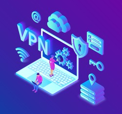 VPN. Virtual private network. Data encryption, IP substitute. Secure VPN connection concept. Cyber security and privacy, Isometric personal data protection. Privacy Protection. Vector Illustration.