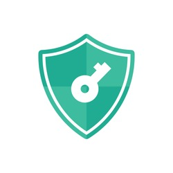 VPN - virtual private network icon or logo. shield with keys symbol. internet protect business concept, vector illustration