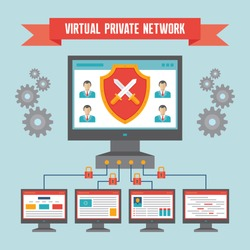 VPN (Virtual Private Network) - Illustration Concept in Flat Design Style for presentation, booklet, website etc. Network security.