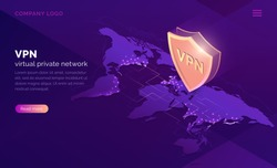 VPN, virtual private network isometric landing page. Data encryption, IP substitute, secure connection concept. Cyber security and privacy, personal info protection 3d vector illustration, web banner