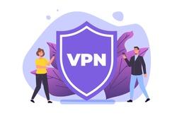 VPN, Virtual Private Network Mobile  service concept.  Protect personal data in smartphone. Vector illustration