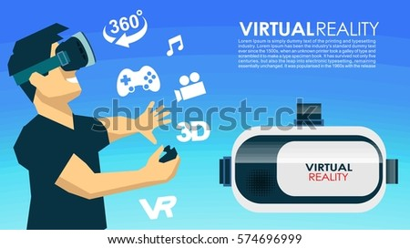 VR glasses 3d virtual reality icons