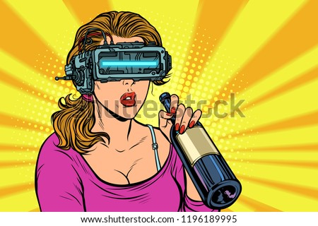 VR glasses. Woman drinking wine from a bottle. Loneliness and sadness. Pop art retro vector illustration vintage kitsch