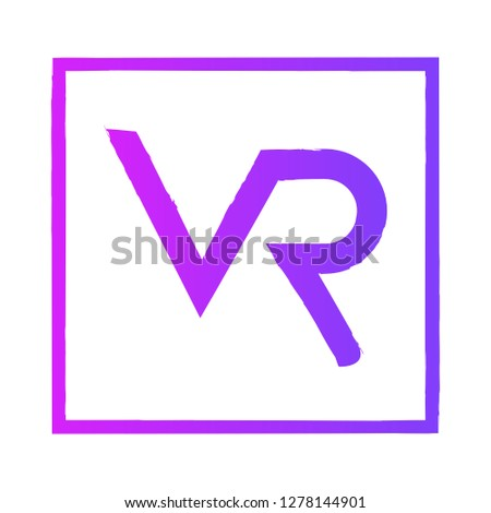 VR Letter Logo Design with Creative vintage Typography and pink purple Colors - VR virtual reality illustration Photo stock ©