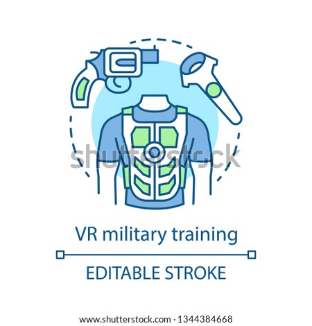 VR military training concept icon. Battlefield simulation. Virtual reality equipment. VR soldier practice. Flight simulator idea thin line icons. Vector isolated outline drawing. Editable stroke