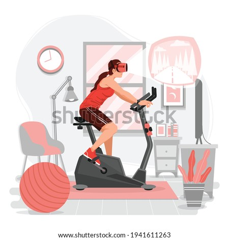 VR workout and fitness concept vector illustration. Woman in VR Headset riding stationary bike at home. Woman riding stationary bike with VR technology.