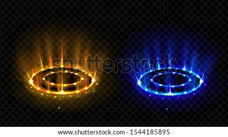 Vs hologram effect circles set. Lighting magic fantasy portals or futuristic teleports. Neon hud blue and red glow versus round rays, battle or competition pedestals. Realistic 3d vector illustration