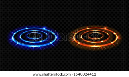 Vs hologram effect circles set. Neon hud blue and red glow versus round rays, battle or competition pedestals. Lighting magic fantasy portals or futuristic teleports. Realistic 3d vector illustration