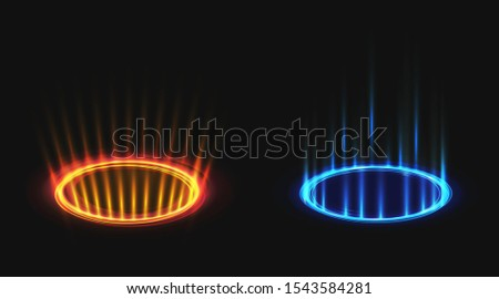 Vs hologram effect circles set. Versus neon round blue and red glow rays night scene with sparks, hud battle or competition pedestals. Magic portals or teleports. Realistic 3d vector illustration