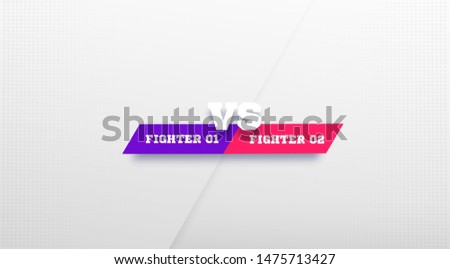 VS Logo. Versus Board of rivals, with space for text. vector illustration. Grey vs banner. football, basketball, soccer screen. vector illustration. yellow. in dark background Foto stock ©