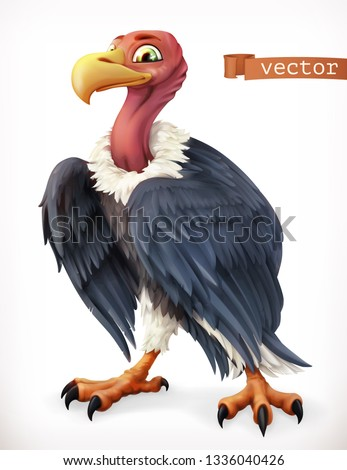 Vulture, eagle cartoon character. Funny animal, 3d vector icon