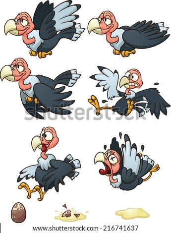 Vultures sprites, flight cycle, laying egg, and dying. Vector clip art illustration with simple gradients. Each element in a separate layer.