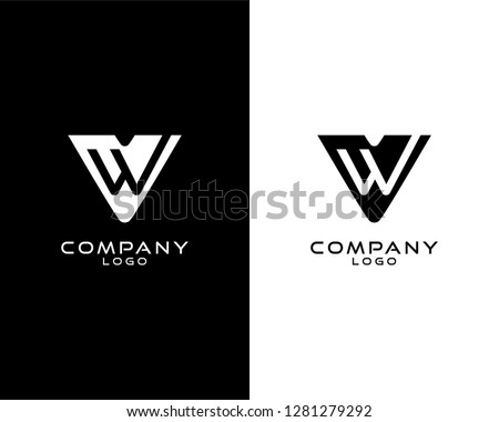 vw/wv Initial abstract company Logo Template Vector