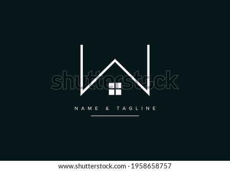 W alphabet letter logo icon with house design Zdjęcia stock ©