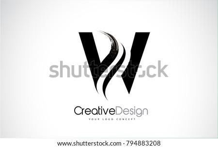 W Letter Design Brush Paint Stroke. Letter Logo with Black Paintbrush Stroke.