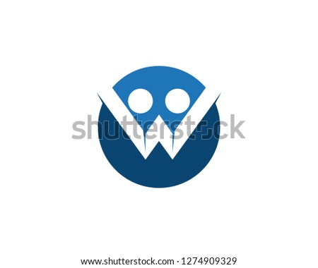 W letter human character logo template