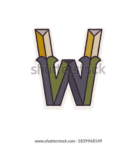 W letter logo faceted with dim colors. You can use it in your corporate identity, retro emblem, heraldry posters, agriculture design, and others.  Zdjęcia stock ©