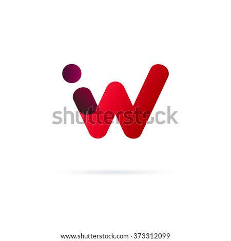 W letter red logo with dot Zdjęcia stock ©