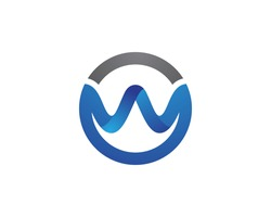 W Letter Water wave Logo Template