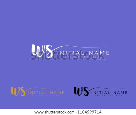 W S Initial handwriting logo vector. Hand lettering for designs. Zdjęcia stock ©