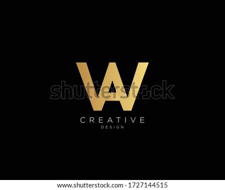 WA AW Logo Design , Creative Minimalist Letter WA AW Logo Design