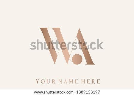 WA logo monogram. Typographic icon with letter w and letter a. Uppercase serif lettering. Alphabet initials sign in rose gold metallic color isolated on light background. Modern, clean, luxury style.