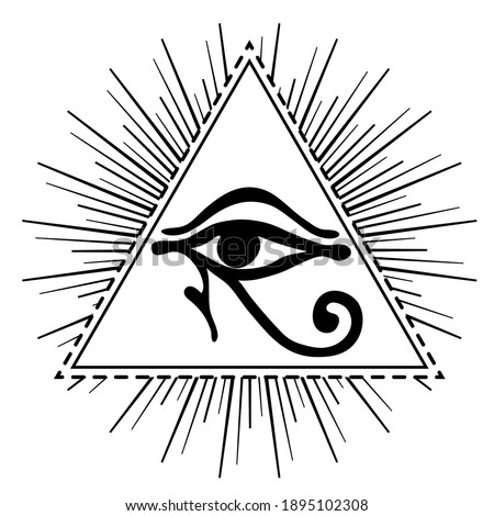 Wadjet in pyramid, ancient Egyptian symbol of protection, royal power, good health. Eye of Horus. All seeing eye sign. Alchemy, religion, spirituality, occultism, tattoo. Isolated vector illustration. Stock photo ©
