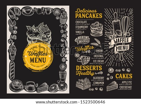Waffle and pancake menu template for restaurant on background vector illustration brochure for food and drink cafe. Design layout with vintage lettering and doodle hand-drawn graphic icons. Photo stock ©