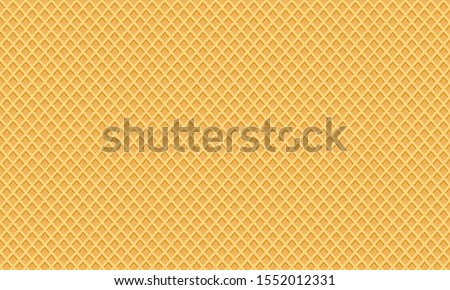 Waffle background, ice cream cone texture, sweet dessert wafer pattern, space for your text. Vector illustration Foto stock ©