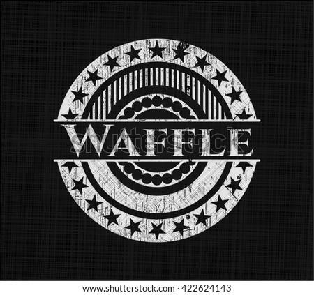 Waffle chalkboard emblem on black board