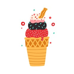 Waffle cone with different balls of ice cream with scattered sprinkles. Colored flat vector illustration of colorful icecream in wafer isolated on white background