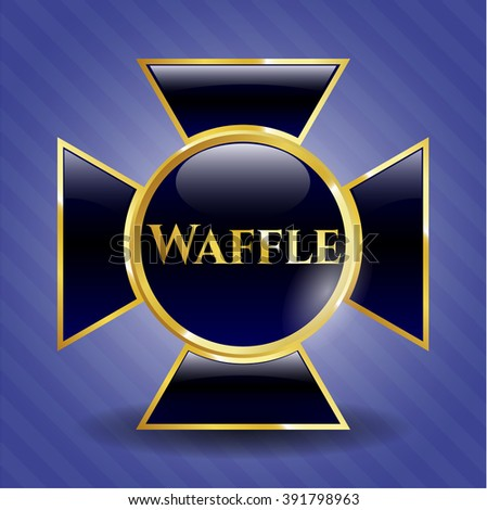 Waffle golden emblem or badge