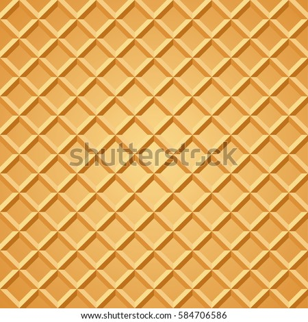 Waffle seamless pattern. Baked wafer background with repeating texture. Stylized flat style vector eps8 illustration.