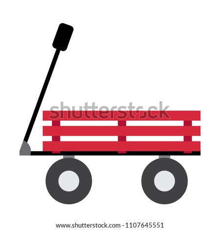 Wagon transportation cartoon character side view isolated on white background vector illustration.